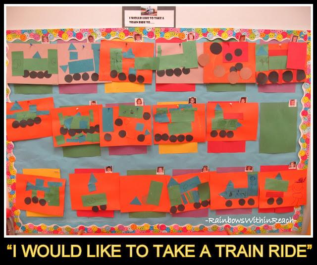 photo of: Bulletin Board of Train Art Projects from Geometric Shapes in Preschool via RainbowsWithinReach