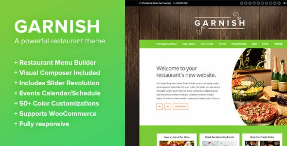 garnish restoran teması
