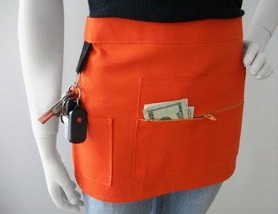 vendor apron, pocket with zipper, orange