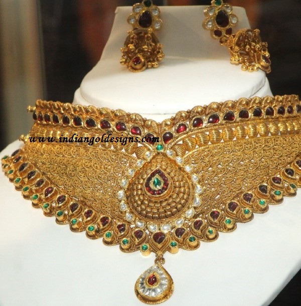 jewellery loading itm pendant is image indian necklace s heavy cz gold plated set bollywood bridal