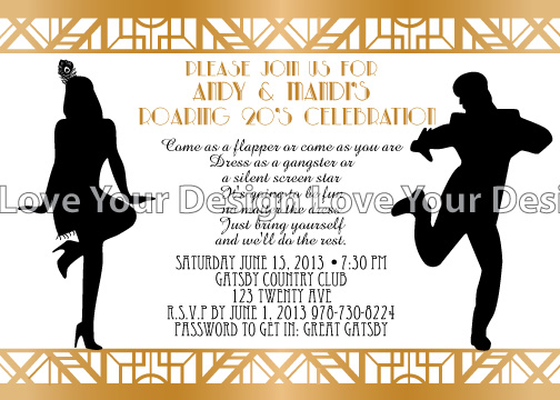 great gatsby birthday party invitation with roaring 1920s dancers perfect for your great gatsby theme birthday party celebration - Gatsby Party Invitation