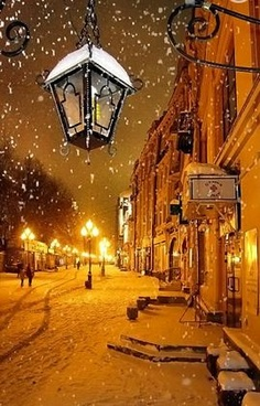 Winter night in Moscow Russia