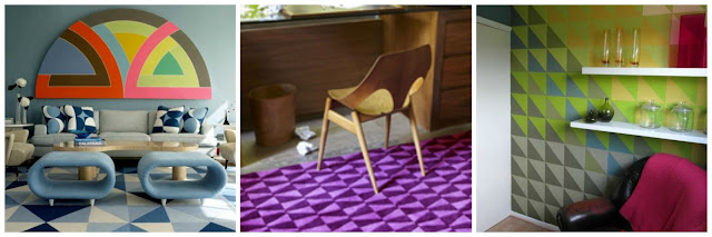 triangles, interiors, retro, pattern