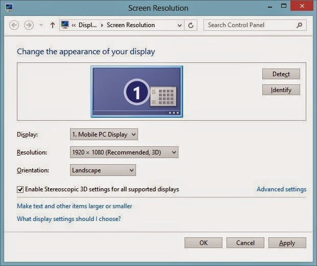 Alienware 17 screen resolution settings including stereoscopic 3D support