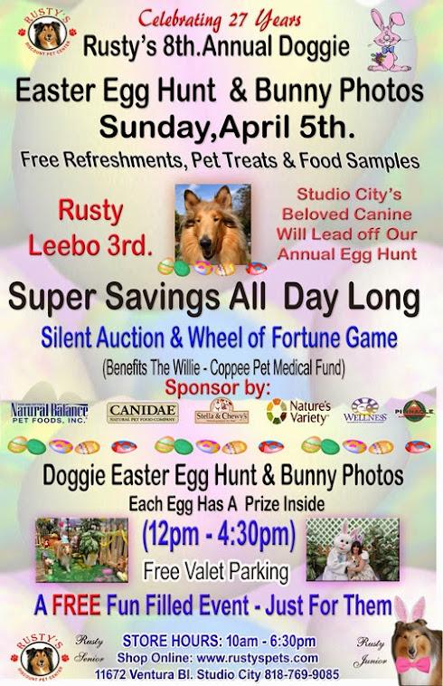 Rusty's 8th Annual Doggie Easter Egg Hunt & Bunny Photos.