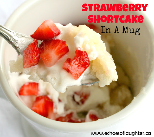 strawberry cake in a mug