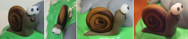 Pond Cake with Animals and Mushrooms - Close-Up Views of Snail