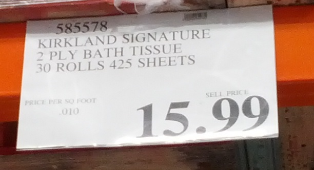 Meanwhile, on the question of price, it is true that Kirkland Signature is among the cheapest rolls you can buy. Consumer Reports says it costs only 13 cents per sheets, according to its most recent toilet paper ratings. Though we should note it only scores a 37 out of on the magazine's scale.