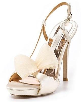 Bridal shoes Badgley mischka golden with ribbon