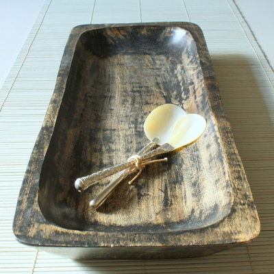 burnished wooden tray