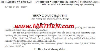 Dap an de thi tot nghiep thpt 2011 mon Van, dap an de thi mon Van tot nghiep THPT nam 2011