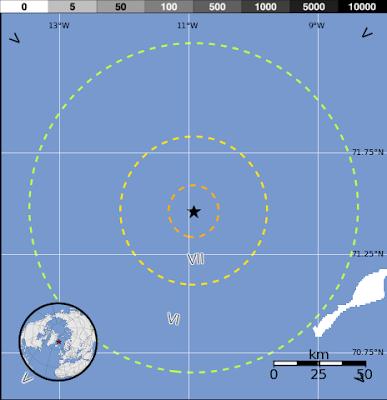 Epicentro terremoto 6,8 grados en mar Artico, 30 de Agosto 2012