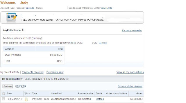 Paypal Account showing Microworkers payment