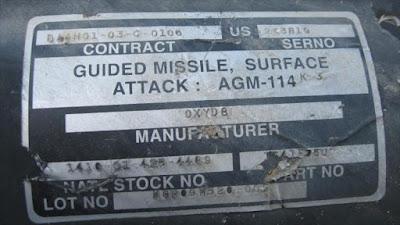 Un misil tipo Hellfire aire-tierra, de fabricación estadounidense, utilizado por el régimen israelí en su ataque contra la asediada Franja de Gaza en enero de 2009