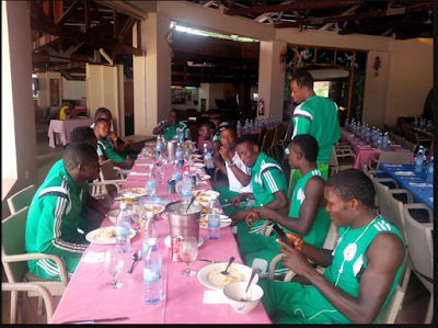 #Seychelles2015: See Photos Of Supersand Eagles Enjoying Their Meal Before Clash With Egypt Today