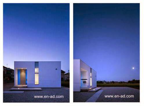 Perfil y perspectiva de la fachada principal de la casa