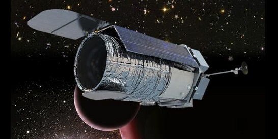 An artist's rendering of WFIRST-AFTA (Wide Field Infrared Survey Telescope – Astrophysics Focused Telescope Assets). From the cover of the WFIRST-AFTA Science Definition Team Final Report (2013-05-23). Credit: NASA / Goddard Space Flight Center WFIRST Project – Mark Melton, NASA/GSFC