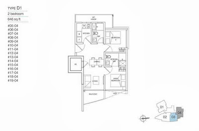 8M Residences 2 bedrooms Floor Plan