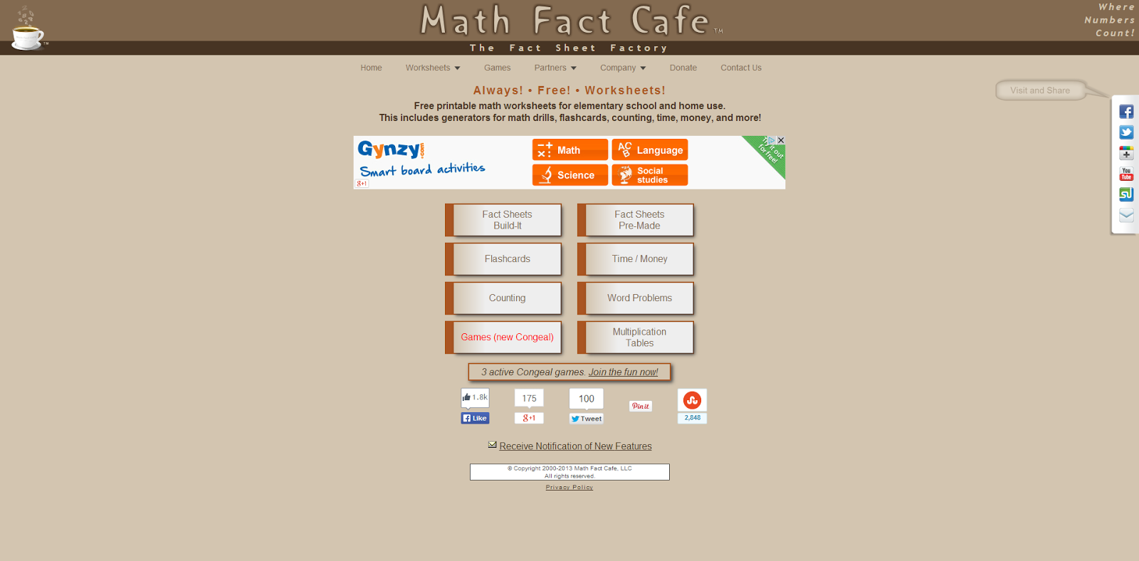 math worksheet : learning never stops 7 math based websites to discover again  : Math Fact Cafe Multiplication Worksheets