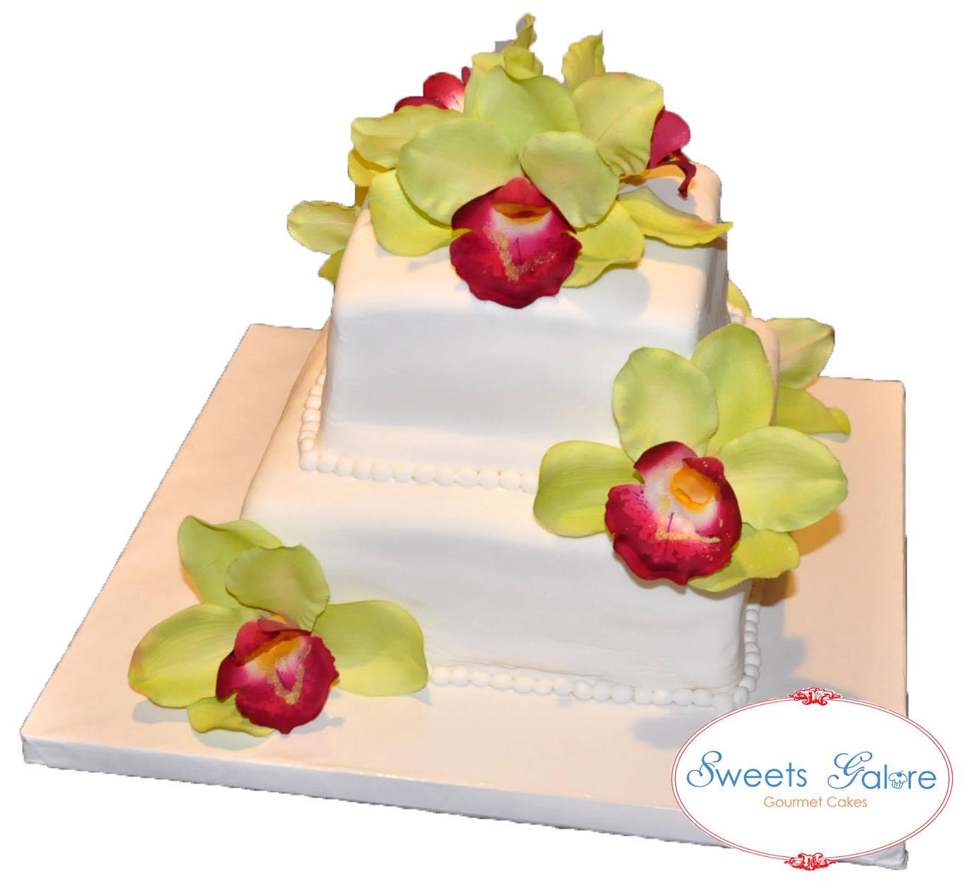 Sweets Galore Cymbidium Silk Flowers Cake