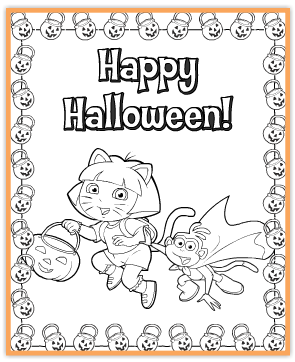 here is a cute and fun pre halloween activity for the little ones it is a free printable dora halloween coloring page it features dora and boots all - Free Printable Halloween Coloring Pages
