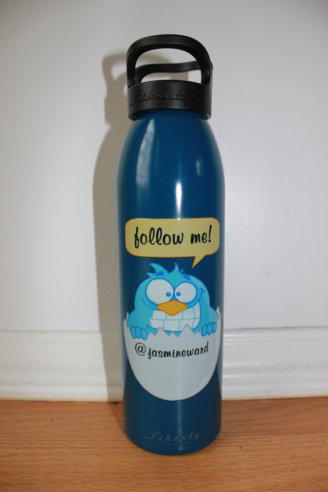 follow me, twitter account, blue bird, patriot blue,liberty water bottle
