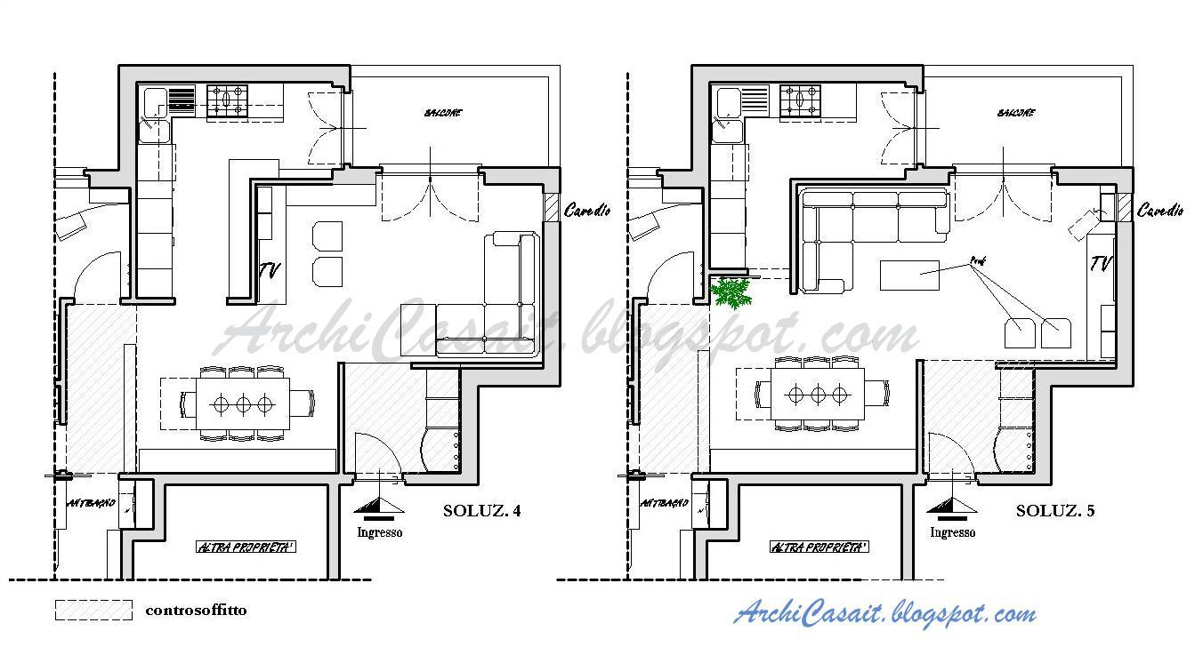 Archicasa uno spazio per 6 soluzioni e mezzo - Dimensioni tavoli da cucina ...