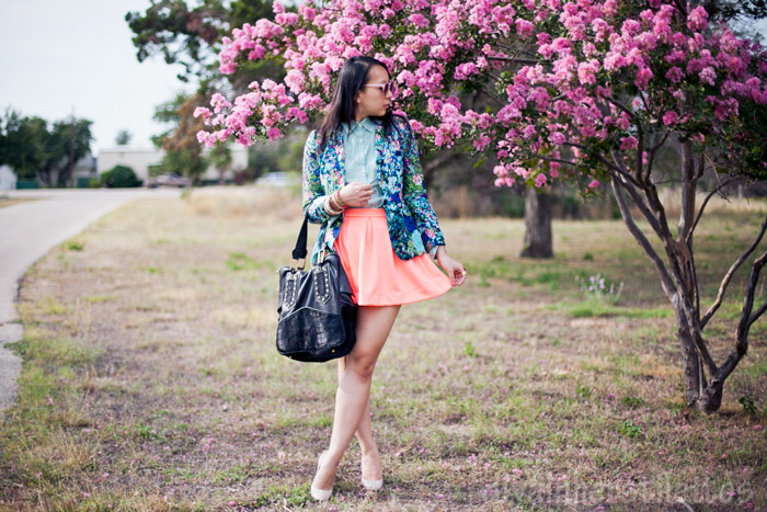 zara floral blazer, lulus neon everything illuminated skirt, lands end canvas button up shirt, casadei pumps, house of harlow leather tote bag, austin street style, texas fashion blog, diya liu