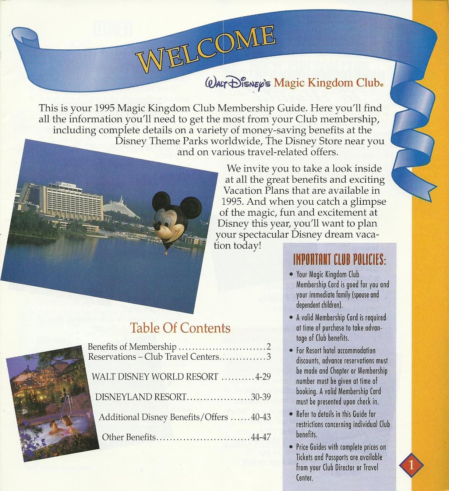 Disney Vacation Kingdom 1995 Magic Kingdom Club