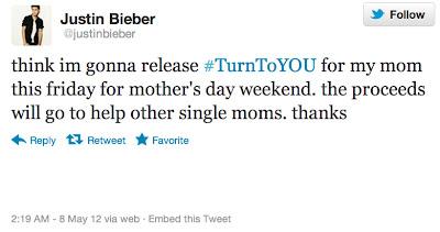 Twitter de Justin Bieber donde anuncia canción para Día de la Madre