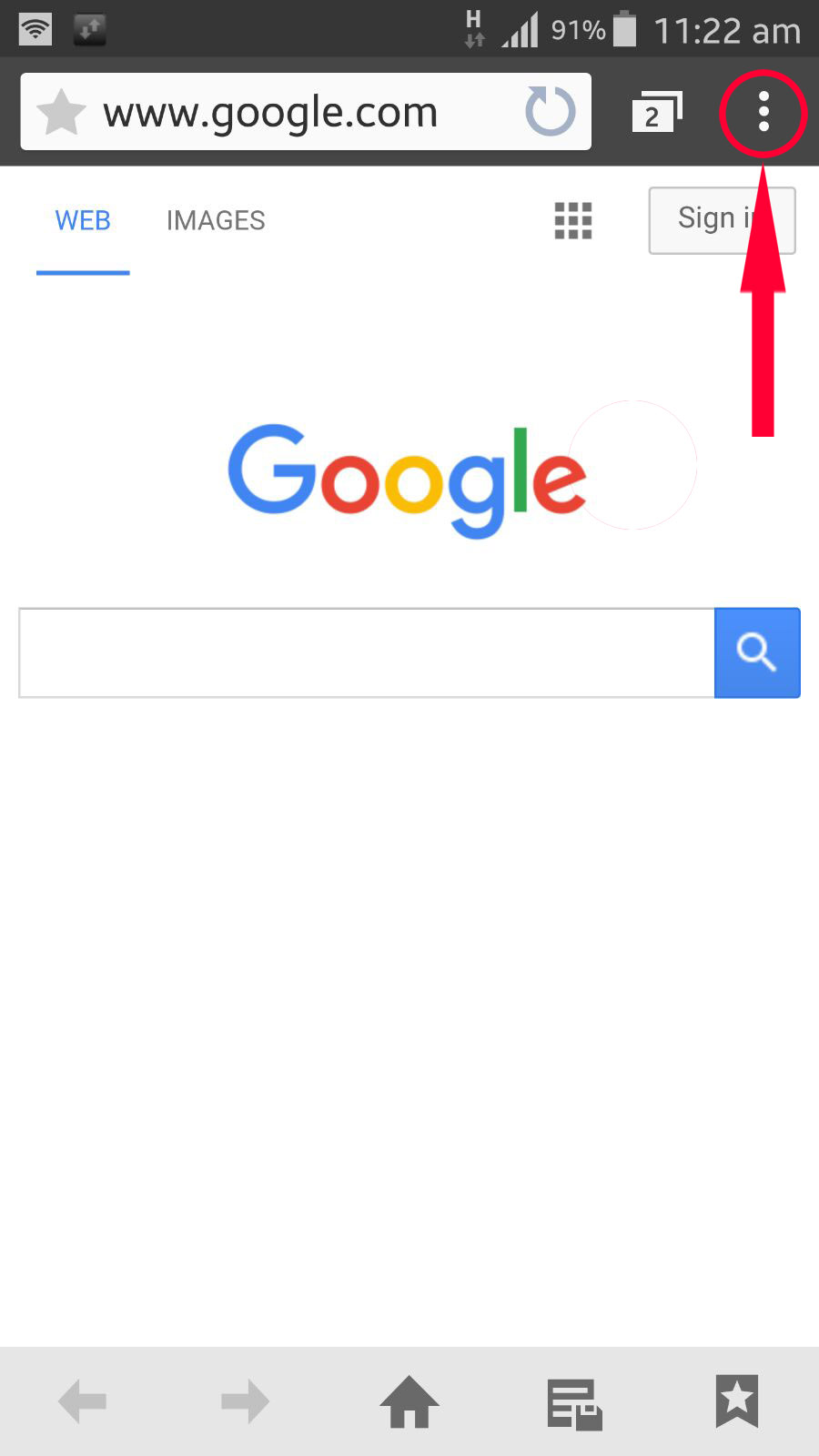 1 go to www google com and click on menu icon