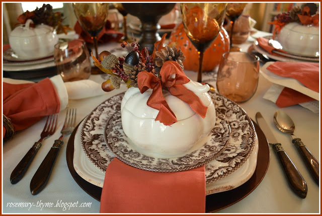 Rosemary and Thyme Thanksgiving Table Setting-Treasure Hunt Thursday- From My Front Porch To Yours