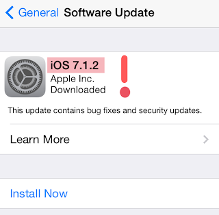 ios 7.1.2 maintenance update on iphone screen