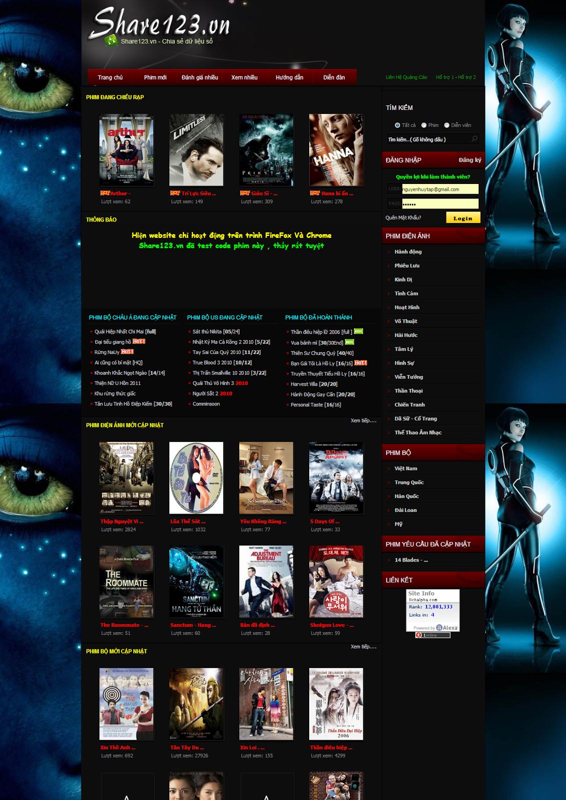 thiết kế web xem phim giá rẻ