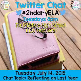#2ndary ELA, Twitter chat for middle school and high school English Language Arts teachers on Tuesday evenings 8pm EST.