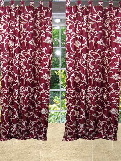 http://www.mogulinterior.com/indian-red-sari-curtains-designer-printed-tab-top-window-panels.html
