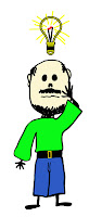 A stick figure man with bald head, mustache and beard with a bright light bulb over his head.