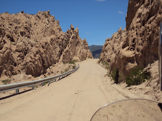 Thinking we were done with river crossings we faced an even bigger hurdle leaving Cafayate. Although there was a perfectly adequate asphalt road to east we chose the route which would wind us through the Mars-like landscape of the Quebrada de los Calch...