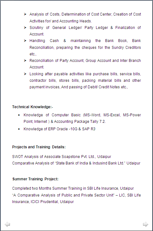 resume sample  mba administration  u0026 finance with 6 years experiance