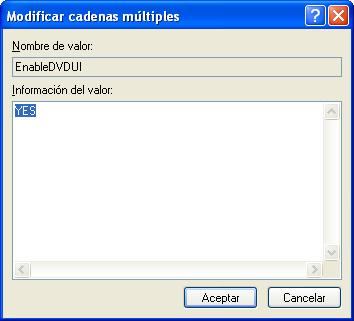 regedit, modificar entrada multiple