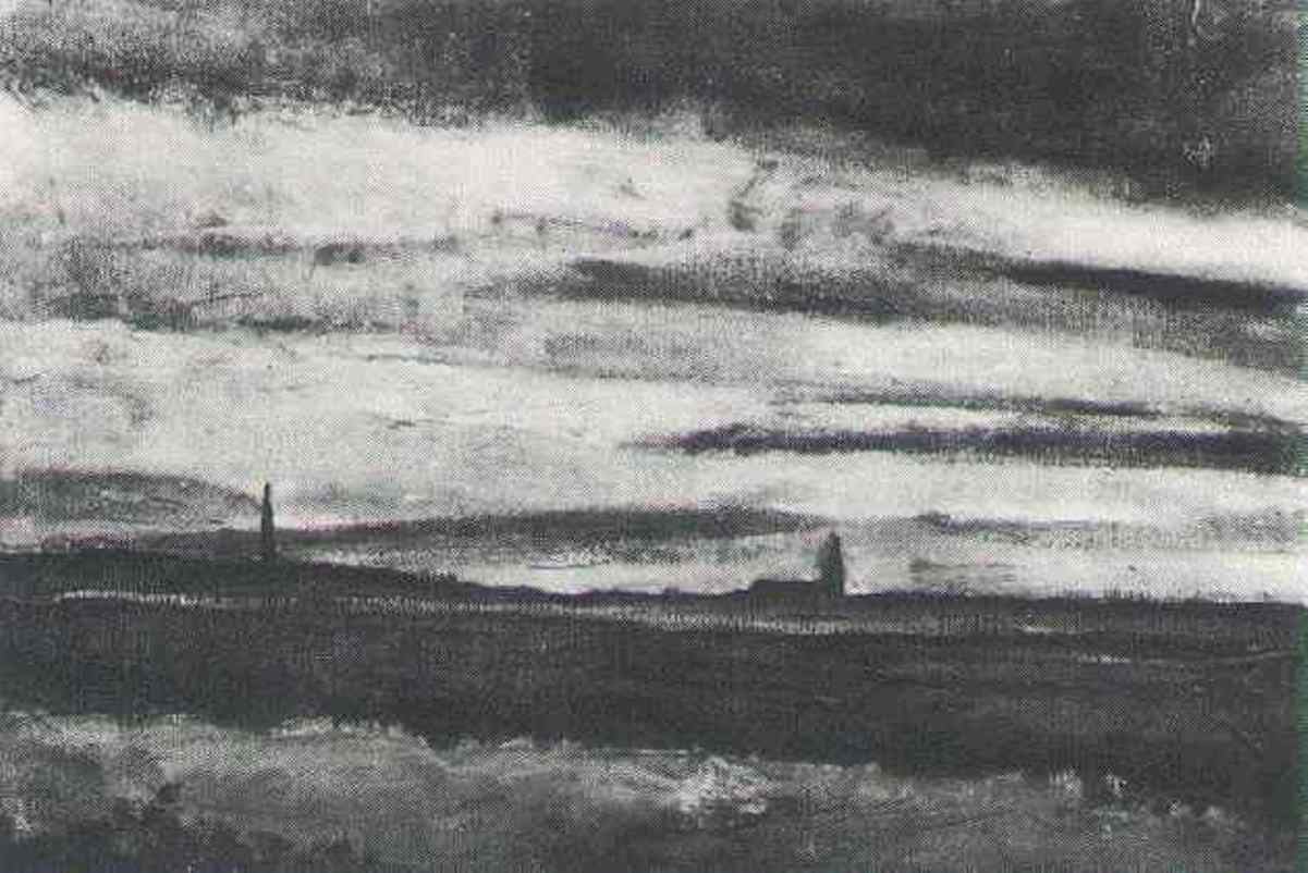Landscape With a Church at Twilight by Vincent van Gogh