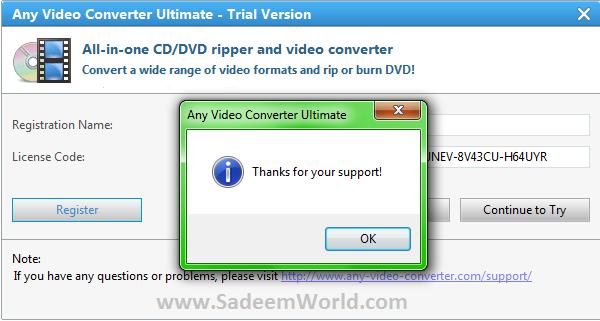 Any video converter free 3 5 5 setup key