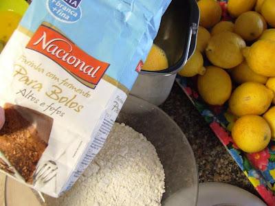 Ingredientes do bolo de limão