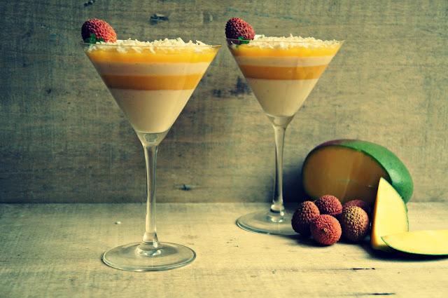 Panna Cotta de Lychee con Gelatina de Mango