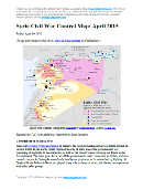 Map of fighting and territorial control in Syria's Civil War (Free Syrian Army rebels, Kurdish groups, Al-Nusra Front, Islamic State (ISIS/ISIL) and others), updated for April 2015. Highlights recent locations of conflict and territorial control changes, such as Yarmouk, Idlib, Nassib border crossing, Busra, and Tel Hamis.