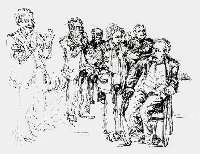 Mock, Alois Mock, Spindelegger, Heinz Fischer, Bundespräsident, Gratulation, Geburtstag, Greis, Rollstuhl, Parkinson, Zeichnung