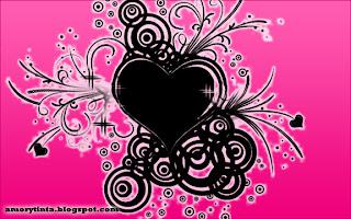 fondo rosado con corazón negro y decoraciones