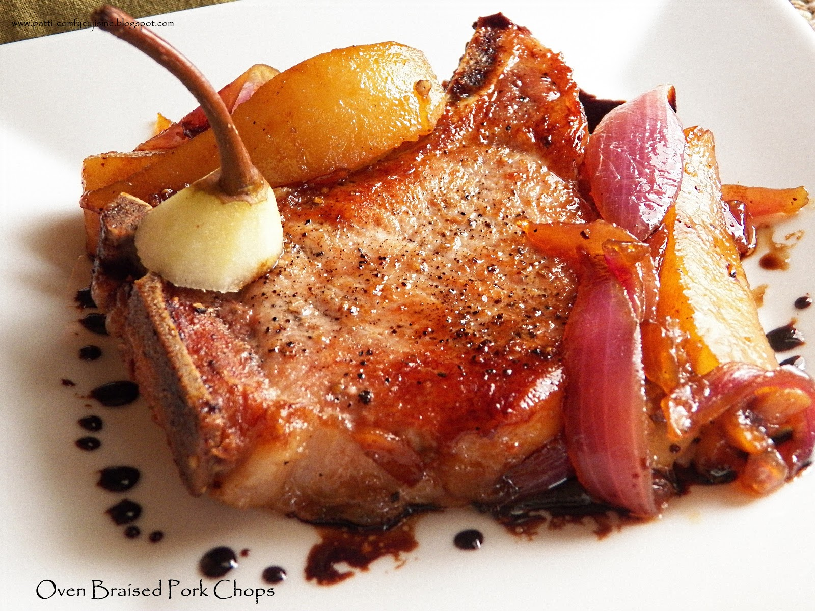 Comfy cuisine oven braised pork chops with pears pour the vinegar honey mixture into the skillet and bring to a full boil return garlic cloves to the skillet roast until the onions and pears are tender ccuart Images