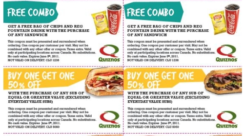 photo relating to Quizno Printable Coupons referred to as Canadian Each day Discounts: Quiznos Canada: Invest in 1 Buy 1 50% Off