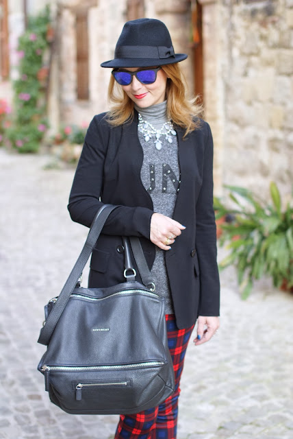 plaid pants, h&m fedora hat, givenchy pandora, oakley, fashion and cookies, fashion blogger